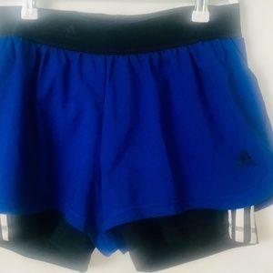 Adidas Mens Shorts Sz Small Blue- Black 3 Stripe